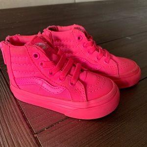 Neon pink high top Vans size 4
